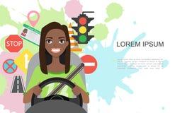 Ilustração das bandeiras de símbolos da estrada e do caráter americano do motorista da mulher do africano negro Foto de Stock