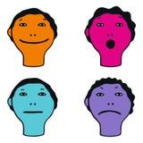 Ilustração das caras bonitos que mostram emoções diferentes Fotos de Stock Royalty Free