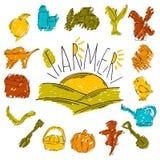 A ilustração das crianças coloridas com um lápis A coleção mão linear de ícones tirados Ícones as ferramentas do fazendeiro Fotografia de Stock