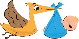 A ilustração das crianças do bebê e da cegonha ilustração royalty free