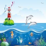 A ilustração das crianças do farol e dos golfinhos do mar Imagens de Stock Royalty Free