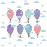 Ilustração das crianças dos desenhos animados - balões e animais Ilustração do vetor ilustração stock
