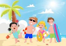 Ilustração das crianças felizes que jogam na praia do verão ilustração royalty free