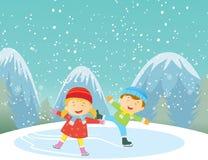 Ilustração das crianças felizes que patinam no gelo fora ilustração stock