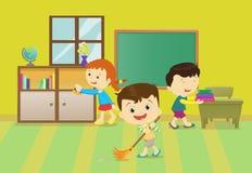 Ilustração das crianças que limpam a sala de aula ilustração stock