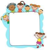 Ilustração das crianças que olham atrás do cartaz Foto de Stock