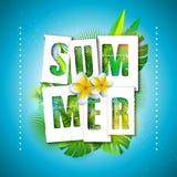 Ilustração das férias de verão do vetor com letra da tipografia e folhas de palmeira tropicais no fundo do azul de oceano exotic ilustração stock