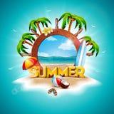 Ilustração das férias de verão do vetor com volante do navio e as palmeiras exóticas no fundo tropical da ilha exotic ilustração do vetor