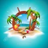 Ilustração das férias de verão do vetor com volante do navio e folhas de palmeira exóticas no fundo tropical da ilha exotic ilustração stock
