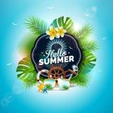 Ilustração das férias de verão do vetor olá! com letra da tipografia e folhas tropicais no fundo do azul de oceano exotic ilustração stock