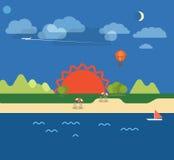 Ilustração das férias do beira-mar do verão Fotografia de Stock
