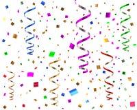 Ilustração das flâmulas e dos confetes 3d do partido Foto de Stock