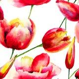 Ilustração das flores estilizados das tulipas e da papoila Fotografia de Stock