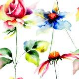 Ilustração das flores estilizados de Gerber e de rosas Fotografia de Stock Royalty Free