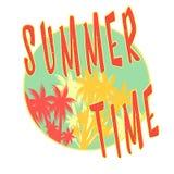 Ilustração das horas de verão, fundo Citações do divertimento Forma do vintage o melhor cartaz Bandeira escrita à mão, logotipo o ilustração do vetor
