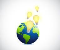 ilustração das ideias do globo e da ampola Foto de Stock Royalty Free