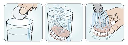 Ilustração das instruções da dentadura da limpeza ilustração royalty free