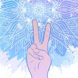 Ilustração das mãos com um gesto da paz ilustração stock