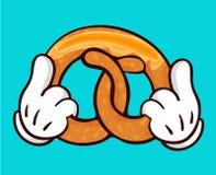 Ilustração das mãos deliciosas do pretzel e guardar Imagem de Stock Royalty Free
