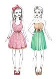Ilustração das meninas da forma ilustração stock
