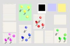 Ilustração das notas de papel na ilustração da placa da cortiça Imagem de Stock Royalty Free