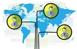 Ilustração das pessoas no mapa do mundo azul ilustração do vetor