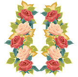 Ilustração das rosas e das folhas ilustração stock