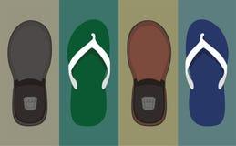 Ilustração das sandálias e das sapatas Fotografia de Stock