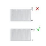 Ilustração de aço do vetor dos radiadores do painel Lugar correto e incorreto da cabeça térmica Imagens de Stock Royalty Free