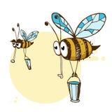 Ilustração de abelhas bonitos amigáveis de um voo Foto de Stock Royalty Free