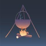 Ilustração de acampamento da fogueira Ilustração Stock