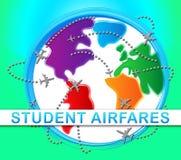 Ilustração de Airfares Indicating Jet Transportation 3d do estudante Fotos de Stock Royalty Free