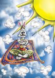 Ilustração de alta qualidade da mascote de Alladin do coelho de coelho, tampa, fundo, papel de parede ilustração stock