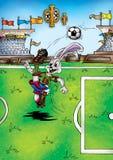Ilustração de alta qualidade da mascote do jogador de futebol do coelho de coelho, tampa, fundo, papel de parede ilustração royalty free