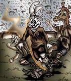 Ilustração de alta qualidade do jogador de futebol do coelho, tampa, fundo, papel de parede ilustração royalty free