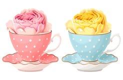 A ilustração de aumentou na xícara de chá Foto de Stock Royalty Free