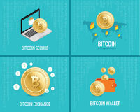 Ilustração de Bitcoin ajustada - as moedas, carteira, fixam e trocam ícones no fundo azul digital Foto de Stock