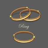 Ilustração de brilho da aliança de casamento do ouro na obscuridade - fundo cinzento Fotos de Stock