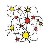 Ilustração de círculos coloridos e de um esboço preto, conectada por linhas, pela conexão dos neurônios na biologia ou pelo relac ilustração stock