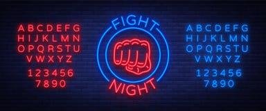 Ilustração de combate do vetor do sinal de néon do logotipo da noite Bandeira de néon, propaganda de incandescência do emblema da Imagem de Stock