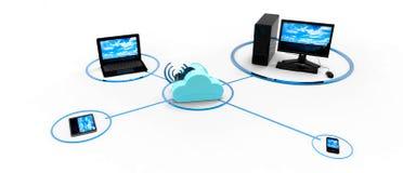 Ilustração de computação do conceito da nuvem Foto de Stock