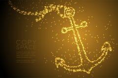 Ilustração de cor brilhante abstrata do ouro do projeto de conceito da forma da âncora do teste padrão de estrela, a aquática e a ilustração stock