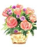 Ilustração de cor das flores em pinturas da aguarela Ilustração Royalty Free