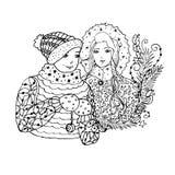 Ilustração de cor do vetor preto mono com irmão e irmã para projeto da cópia do Feliz Natal e do ano novo feliz 2016 Imagem de Stock Royalty Free