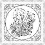 Ilustração de cor do vetor preto mono para projeto da cópia do Feliz Natal e do ano novo feliz 2016 Projeto da página do livro pa Imagem de Stock Royalty Free