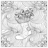 Ilustração de cor do vetor preto mono Projeto adulto da página do livro para colorir Foto de Stock Royalty Free