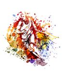 Ilustração de cor do vetor de um jogador de basquetebol Imagem de Stock