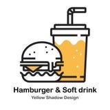 Ilustração de cor em linha direta do Hamburger e do refresco ilustração do vetor