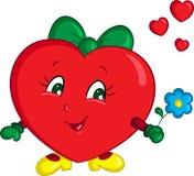 Ilustração de cor de um menina-coração vermelho pequeno, com uma flor azul, colorida belamente, para o livro de crianças ou o car ilustração royalty free