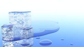Ilustração de derretimento do cubo de gelo 3D Imagem de Stock Royalty Free